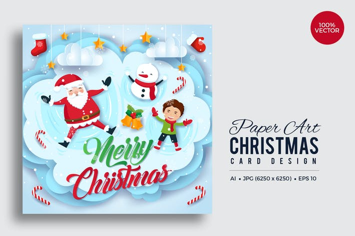 Thumbnail for Merry Christmas Square Vector Card Vol.8