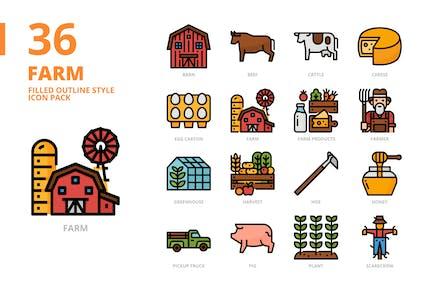 Farm gefüllte Kontur Stil Icon Set