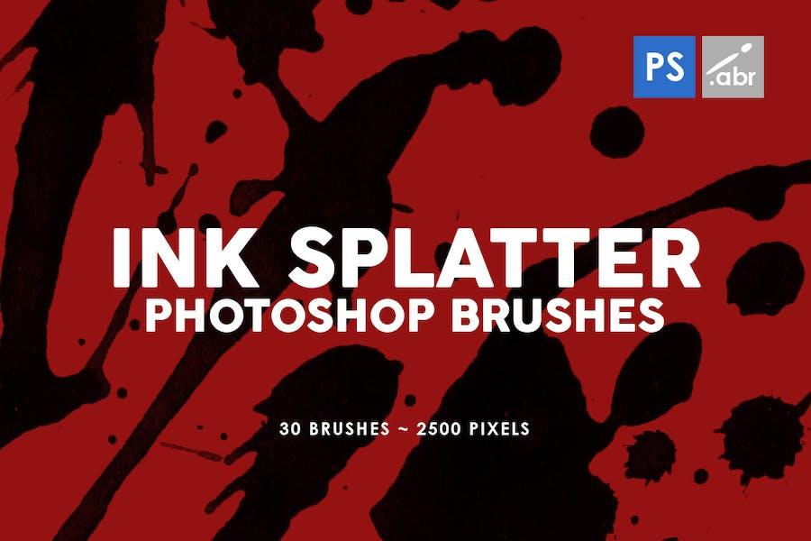 30 Ink Splatter Photoshop Stamp Brushes Vol. 1