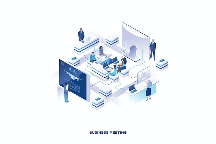 Thumbnail for Business Meeting Isometrische Banner Flat Concept