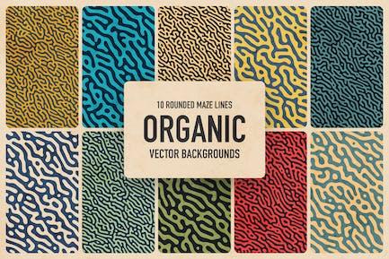 Organische abgerundete Maze Linien Vektor Hintergründe