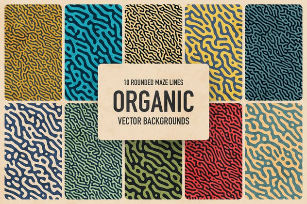 Organic Rounded Maze Lines Vector Backgrounds