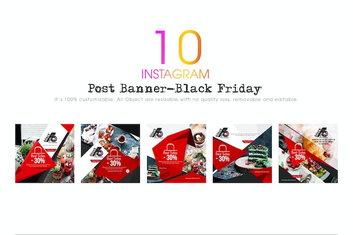 Thumbnail for 10 Instagram Post Banners-Black Friday