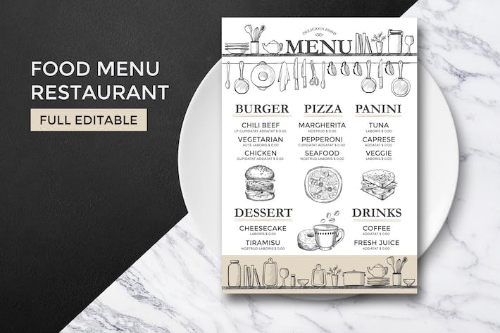 Cover Image For Food Menu Template