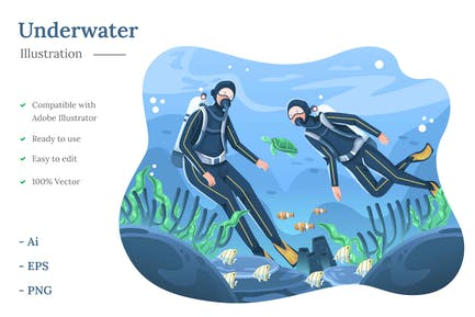 Ilustración submarina de buceo
