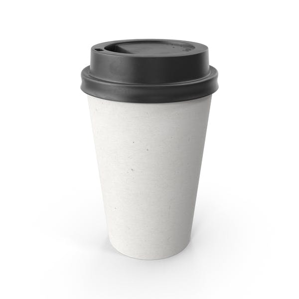 Paper Coffee Cup Blank with Black Lid