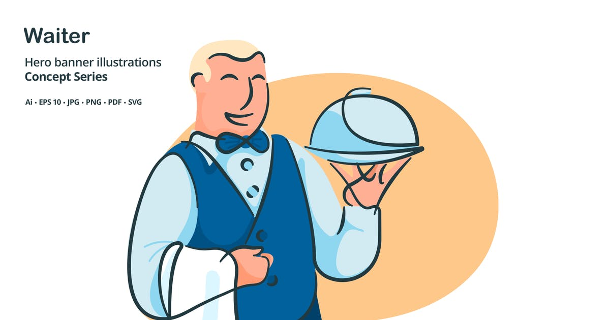 Download Waiter Butler Vector Illustration by roundicons