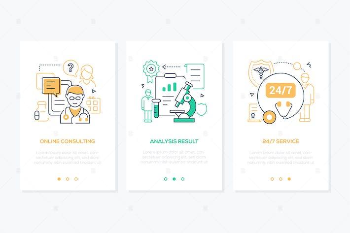 Цифровые линии здравоохранения дизайн стиль веб-баннеры