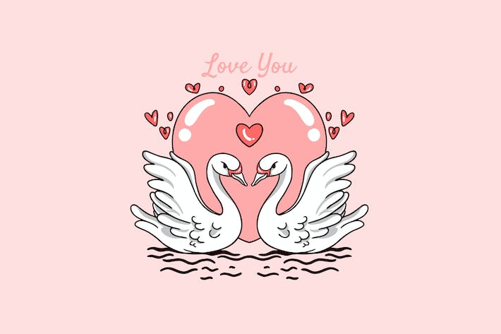 Thumbnail for swan couple love valentine day illustration