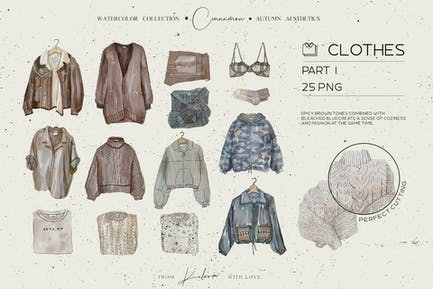 Autumn watercolor clothes and accessorizes set