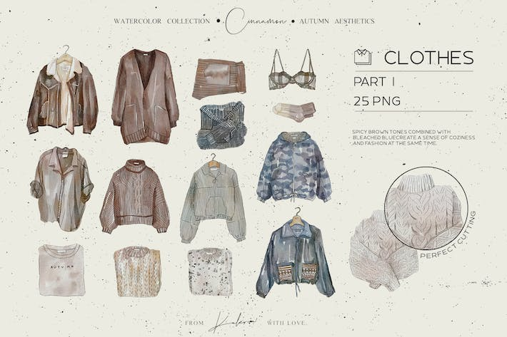 Thumbnail for Autumn watercolor clothes and accessorizes set