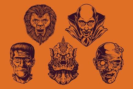 Vintage Halloween Illustration Pack 4