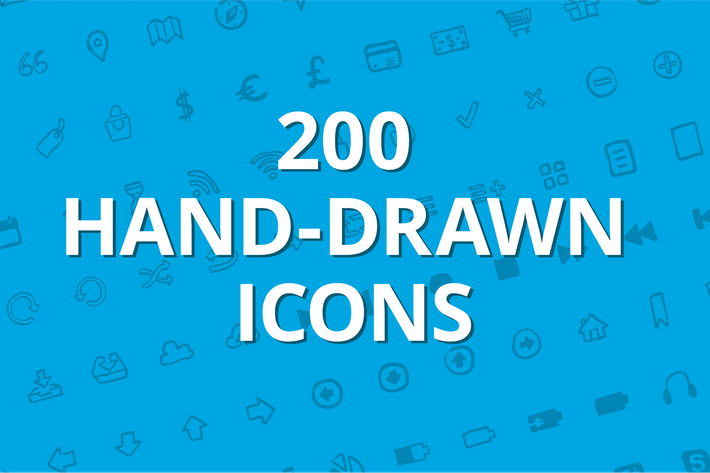Thumbnail for 200 hand-drawn vector icons
