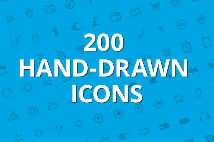 Thumbnail for 200 Iconos vectoriales dibujados a mano