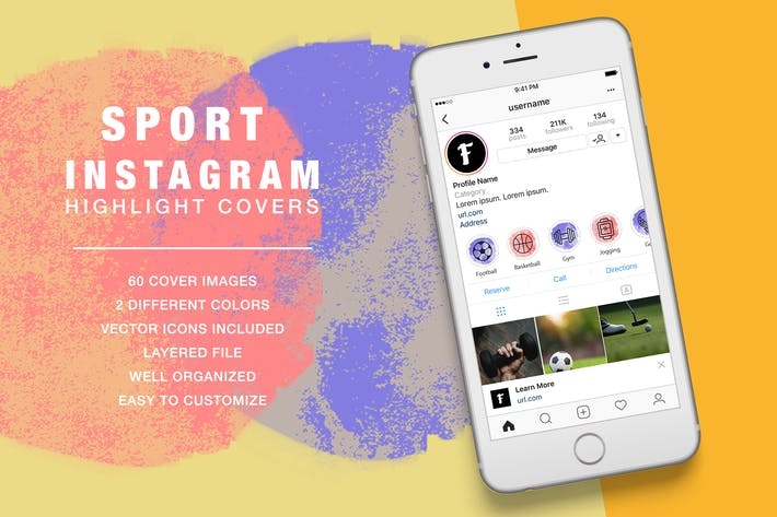 Thumbnail for Sport Instagram Highlight Ink Texture