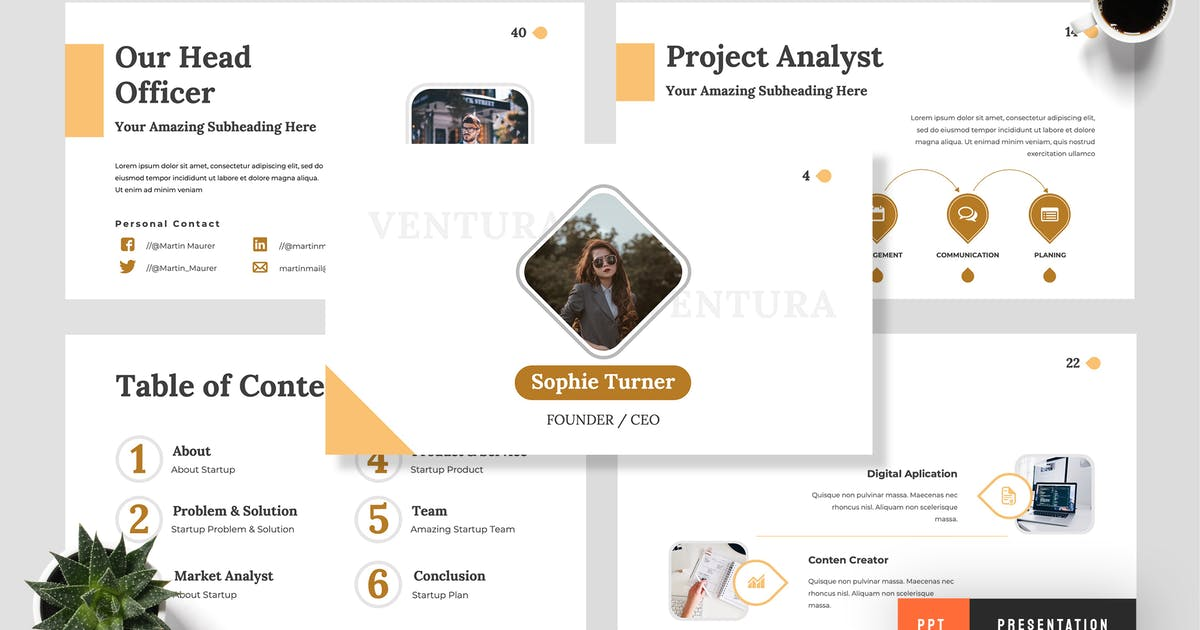 Download Ventura - Startup Powerpoint Presentation by TMint