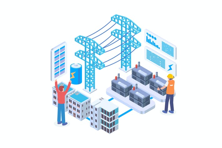 Electrical Grid Isometric Vector