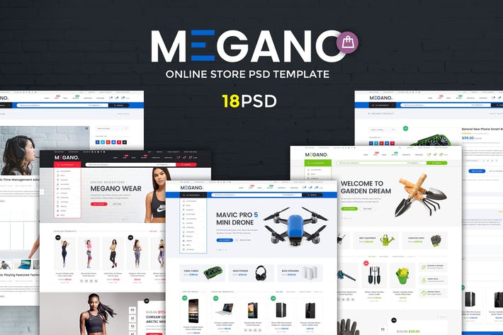 Thumbnail for Megano - Online Store PSD Template