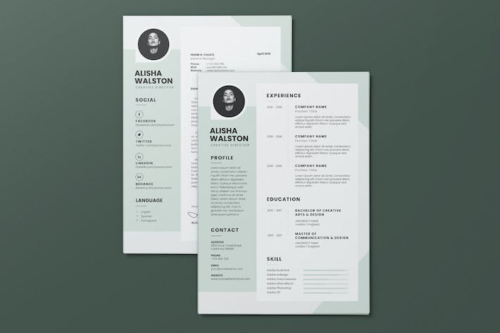 Thumbnail for Clean Minimalist CV Resume AI and PSD Flyer Vol.15