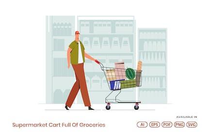 Supermarket Cart Full Of Groceries