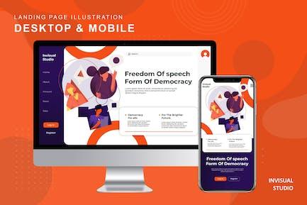 Freedom Of Speech - Landingpage Ilustration