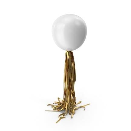 Riesiger weißer Ballon mit goldener Quaste Girlande