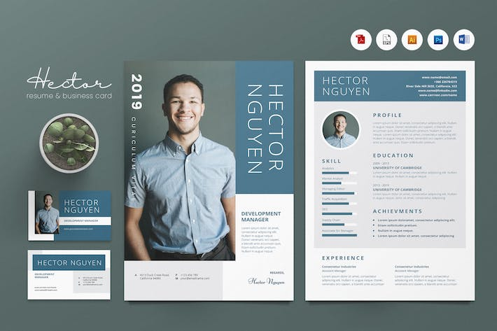 Thumbnail for Creative CV Resume & Name Card PSD, DOCX, AI No.23