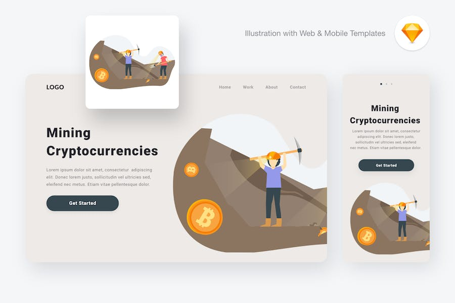 Mining Cryptocurrencies Illustration (Sketch, SVG) - product preview 0