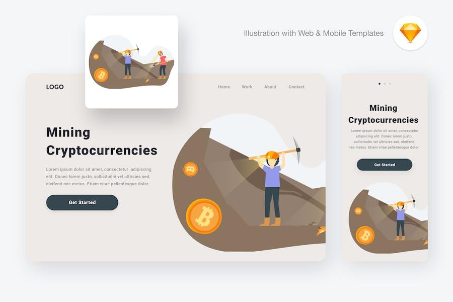 Mining Cryptocurrencies Illustration (Sketch, SVG)