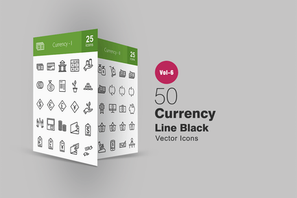 50 Currency Line Icons