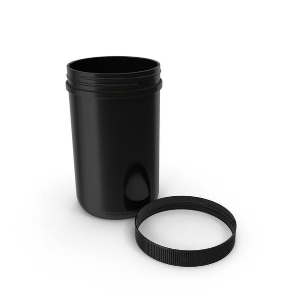 Plastic Jar Wide Mouth Straight Sided 40oz Cap Laying Black