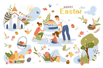 Happy Easter Concept Isolated Elements Set