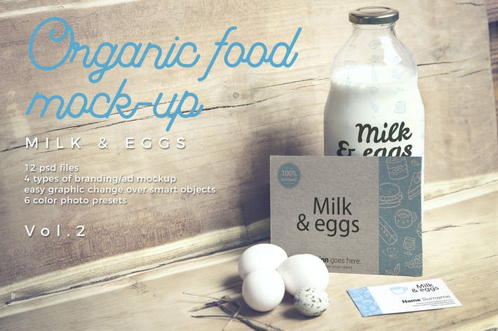 Thumbnail for Organic Food Photo Mockup / Milk & Eggs Vol.2