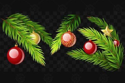 Ramas de abeto de Navidad - Kit de Elementos Vector