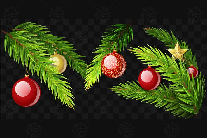 Thumbnail for Christmas fir branches - set of vector elements