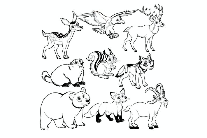 Thumbnail for Wood and Mountain Animals in Black and White
