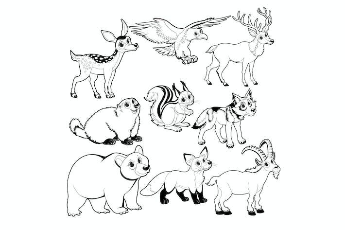 Thumbnail for Дерево и горные животные в черно-белом