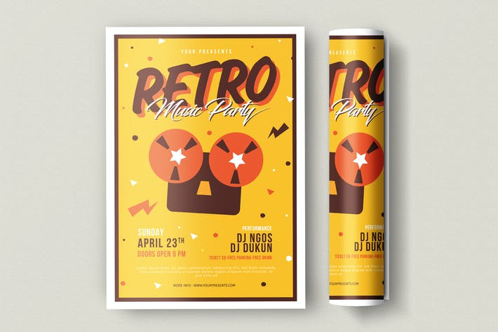 Thumbnail for Retro Music Party Flyer