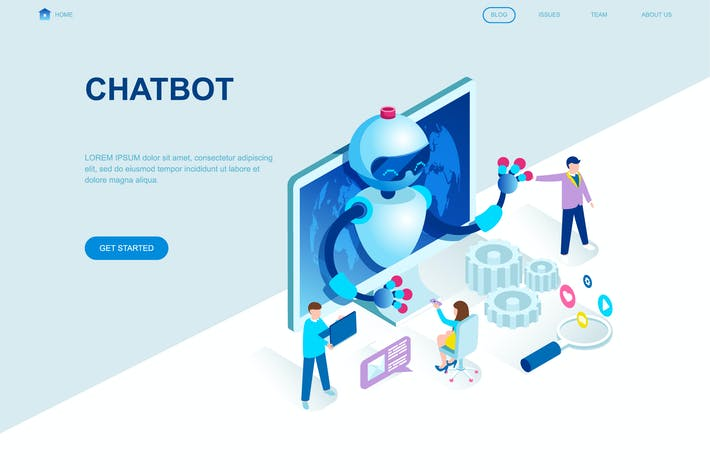 Thumbnail for Chat Bot Isometric Landing Page Template