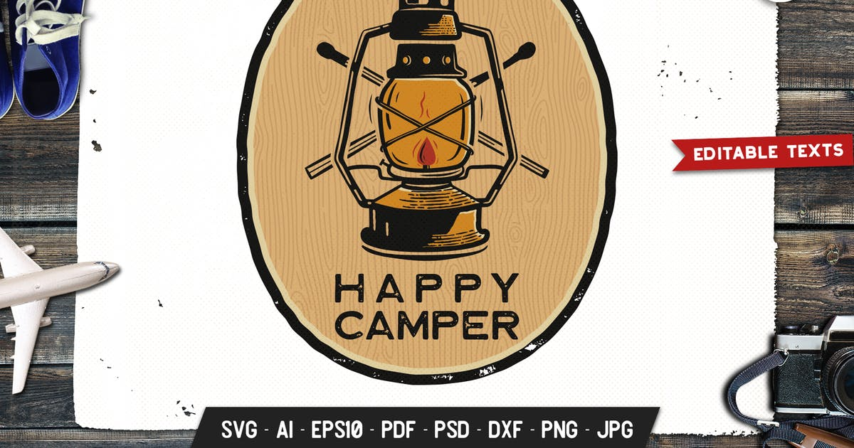 Download Happy Camper Logo Adventure Retro Print Camp Shirt by JeksonJS