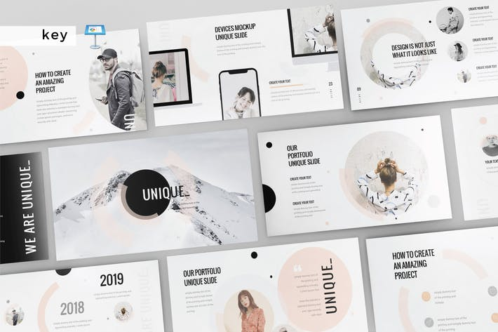 Thumbnail for UNIQUE - Multipurpose Keynote Template131