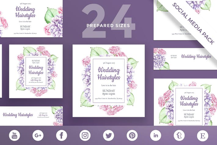 Thumbnail for Wedding Hairstyle Social Media Pack Template