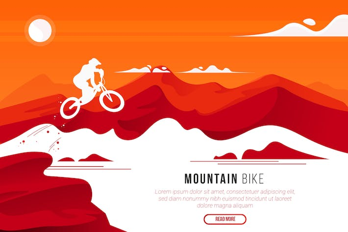 Cover Image For Mountain Bike - Vector Landscape & Building