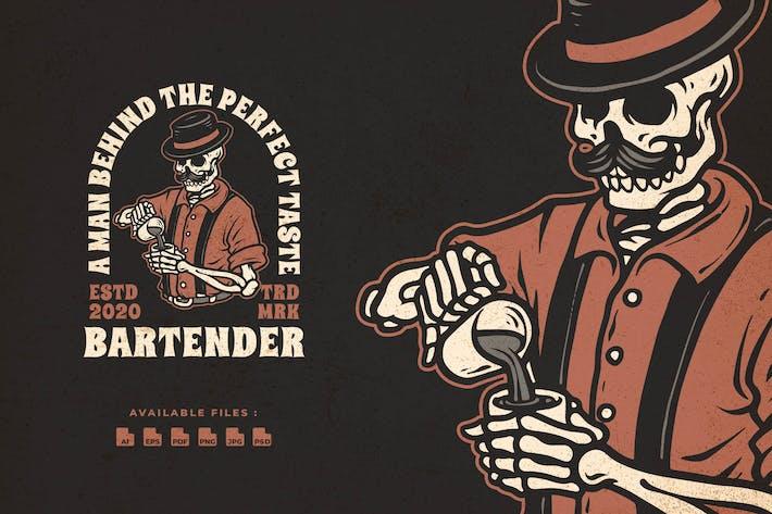 Thumbnail for Bartender Hand Drawn Badge Logo