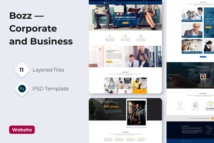 Thumbnail for Bozz — Corporate and Business PSD Template