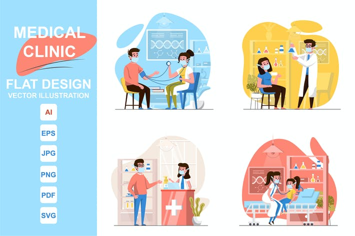 Illustrations Medical Clinic Flat Design Concept