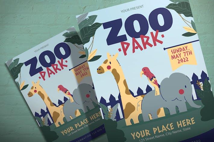 Thumbnail for Zoo Park Tour - Illustration Flyer Template
