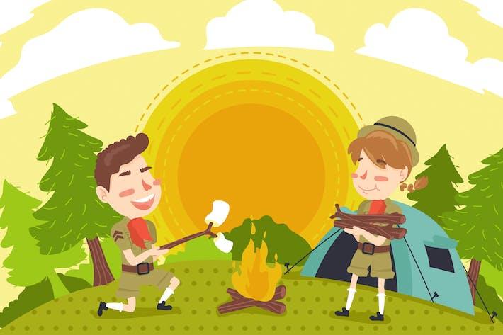 Thumbnail for Summer Camp Kids Illustration