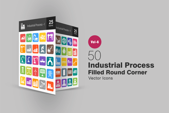 Thumbnail for 50 Industrial Process Filled Round Corner Icons