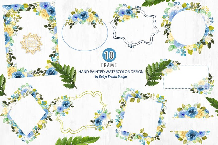 Thumbnail for Blue floral frames